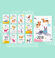calendar sample 2018 animal vector image