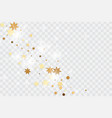 golden confetti on transparent backdrop vector image