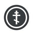 Round black orthodox cross sign vector image
