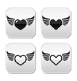 Heart with wings buttons set vector image