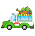 A vehicle selling fresh vegetables vector image vector image