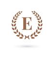 Letter E laurel wreath logo icon vector image