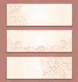Floral Red Banner Set with Leaf Silhouettes vector image