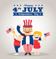 uncle sam cartoon with kids happy 4th of july vector image