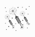 abstract black rocket fireworks set and blasts vector image