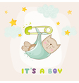 Baby Cat Sleeping - Baby Shower or Arrival Card vector image