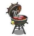 barbecue roasted meat on the grill outdoors vector image