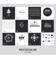 Big set of square black and white winter cards vector image