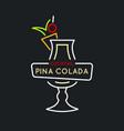 for bar menu alcoholic cocktail pina vector image