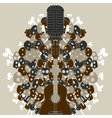 guitar with skulls and bones vector image