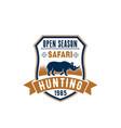 safari hunting badge design with african animal vector image