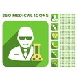Scientist With Retort Icon and Medical Longshadow vector image