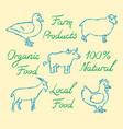 set of hand drawn farm animals icons and lettering vector image