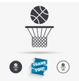 Basketball basket and ball icon Sport symbol vector image