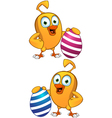 Cartoon Chick Holding Easter Egg vector image