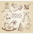 retro hand drawn toys vector image