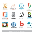 Business icons set with b letter vector image vector image