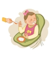 Baby girl in the baby chair refuses to eat pap vector image vector image