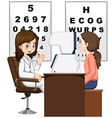 Woman having eyes checked by doctor vector image vector image