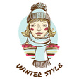 Blonde woman wearing striped sweater scarf and cap vector image
