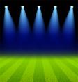 Bright spotlights illuminated green soccer field vector image