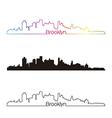 Brooklyn skyline linear style with rainbow vector image