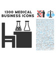 chemical desk icon with 1300 medical business vector image