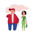 man smoking cigarette woman coughing from smoke vector image