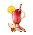 Watercolor mulled wine vector image