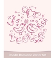 Valentine Day doodle set isolated on white vector image