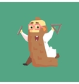 Funny Scientist In Lab Coat With Long Bead Running vector image