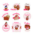 icons of pastry dessert cakes and cupcakes vector image