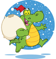 Royalty Free RF Clipart Crocodile Santa Cartoon vector image vector image