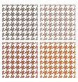 Houndstooth seamless brown pattern set vector image