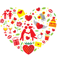 Love Icons in Heart Shape vector image