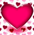 Big heart over seamless heart shape pattern vector image