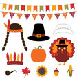 Thanksgiving decoration and photo booth pro vector image