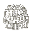 Circle shape pattern with houses for coloring book vector image vector image