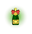 Bottle of champagne comics icon vector image