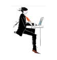 Side view of man with laptop vector image
