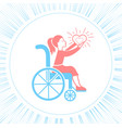 icon disabled girl with a stroller vector image