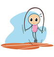 A sketch of a child playing with the jumping rope vector image