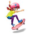 A young woman skating vector image