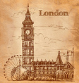 Bigben in London Landscape on a vintage postcard vector image