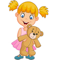 Cartoon little girl playing with teddy bear vector image