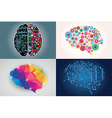 Collections of four different human brains left vector image