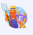 cute cartoon farmer w with smiling cow characters vector image
