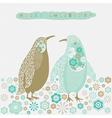 Retro Christmas Birds Card vector image