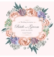 Wedding invitation with peony roses and succulents vector image