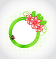 Cute spring label with flower leaves lady-beetle vector image vector image